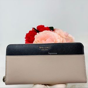 Kate spade large continental wallet Cameron beige